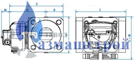 Чертёж счетчиков DELTA Compact DN25 / DN40 / DN50